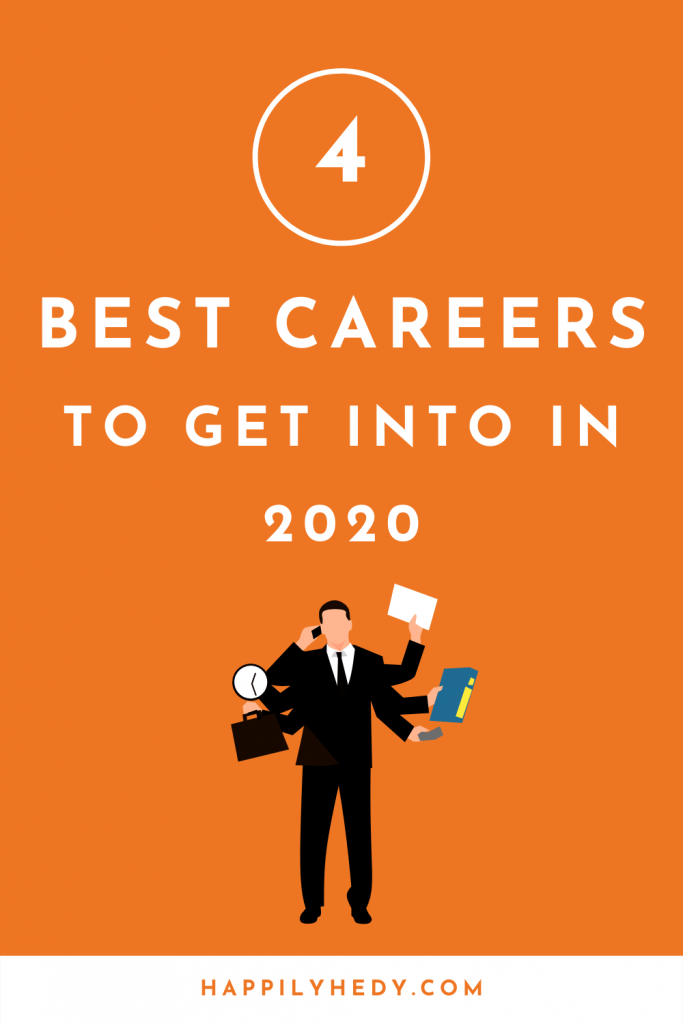 These are the 4 best careers you want to get in 2020. Including: career tips, how to get a job in 2020, job finding tips, resume, best jobs for the future.