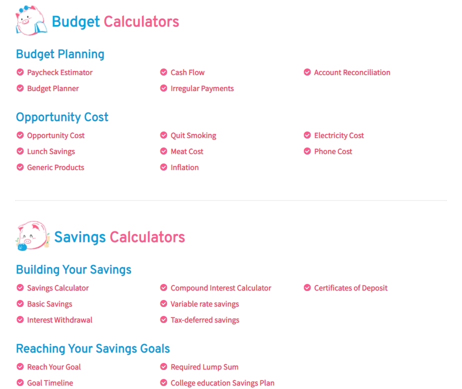 A preview of pigly personal finance calculators: budget and savings calculators